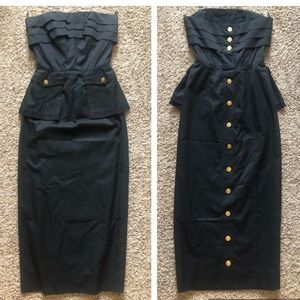 Very rare! Chanel pleated tight long dress vintage